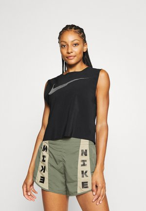 RUN TANK PLEATED - Sports shirt - black/reflective black