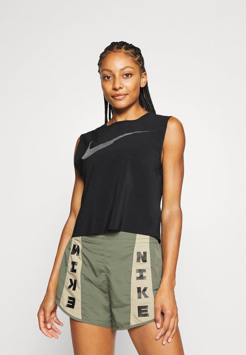 Nike Performance - RUN TANK PLEATED - Sports shirt - black/reflective black