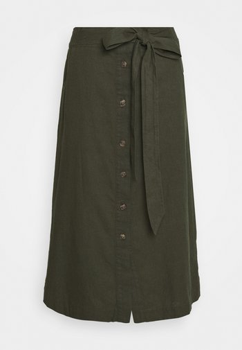 V TIE FRONT MIDI SKIRT - A-line skirt - baby tweed
