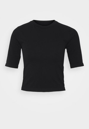 HALF SLEEVE SEAMLESS - T-shirts - black