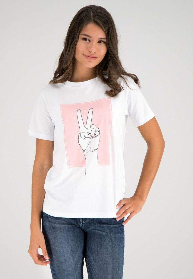 T-shirt con stampa - weiß-multicolor