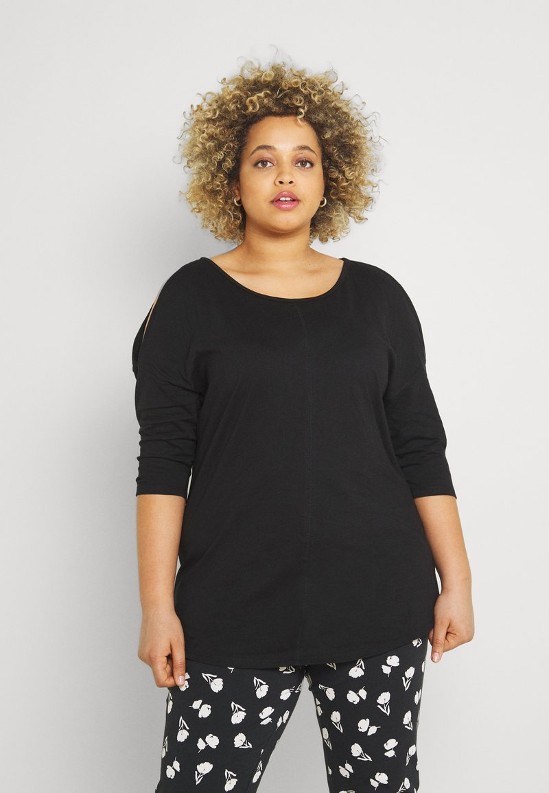 CAPSULE by Simply Be - COLD SHOULDER TUNIC - Print T-shirt - black