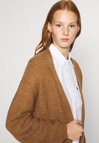 Abercrombie & Fitch - CABLE PUFF SLEEVE CARDI - Cardigan - medium brown - 4