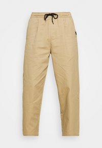ELASTIC WAISTBAND BAGGY TROUSERS - Trousers - sand