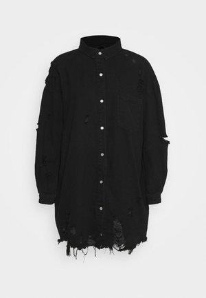 SUPER DISTRESS DENIM DRESS - Dongerikjole - black