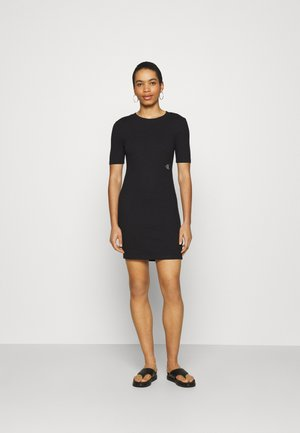 SLUB DRESS - Pouzdrové šaty - black