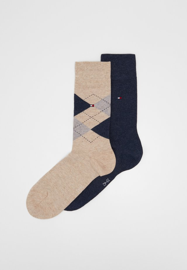 MEN SOCK CHECK 2 PACK - Sukat - beige melange