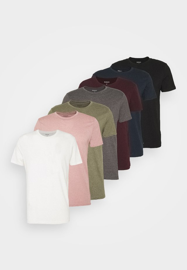 SHORT SLEEVE CREW 7 PACK  - T-shirt basic - black/white/charcoal/navy/burgundy/dusty olive