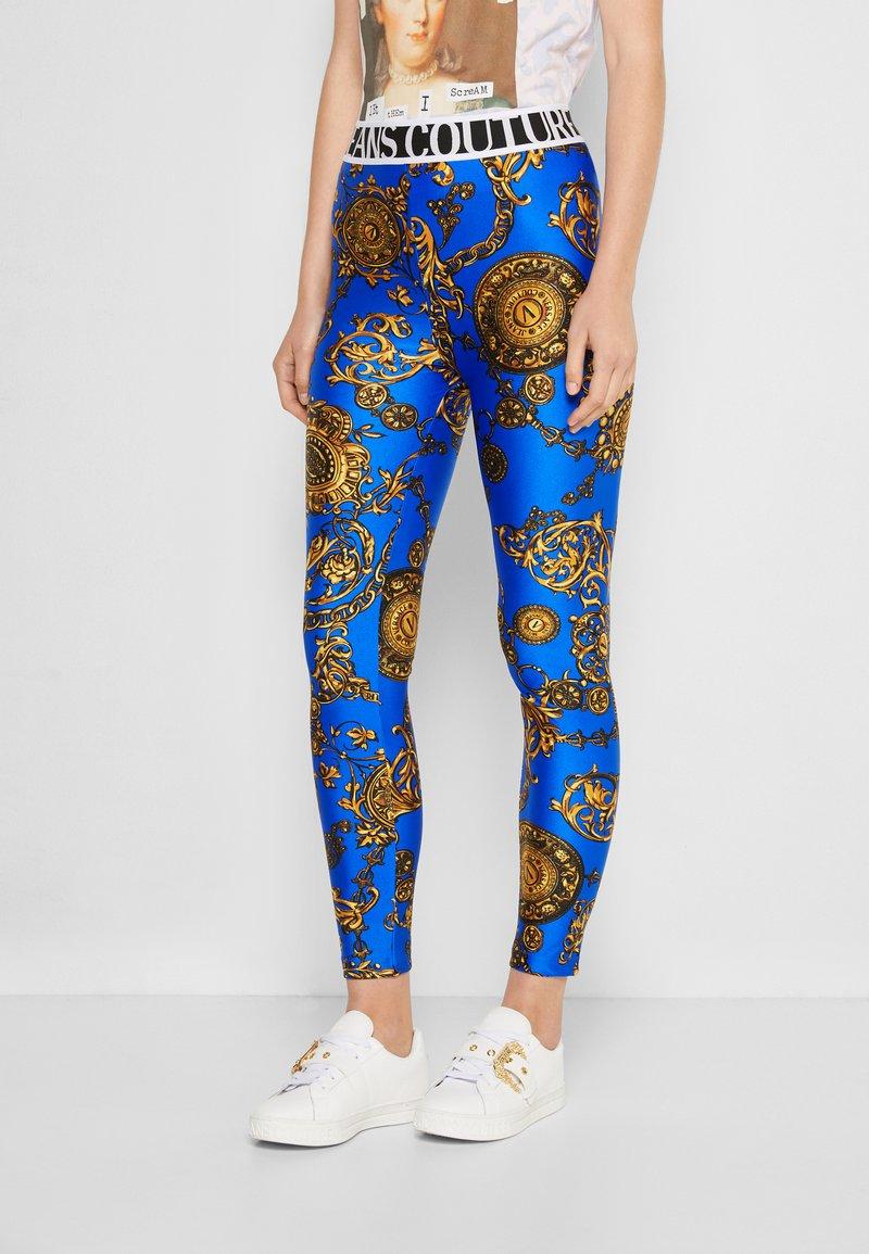 Versace Jeans Couture - PANTS - Leggings - blue/gold