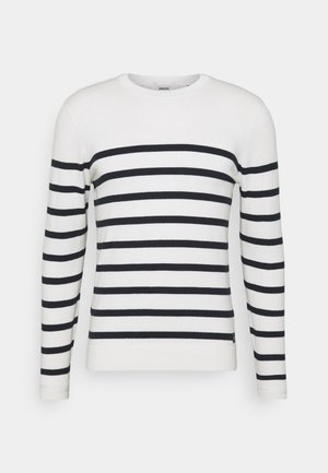 STRIPED - Trui - white/navylue