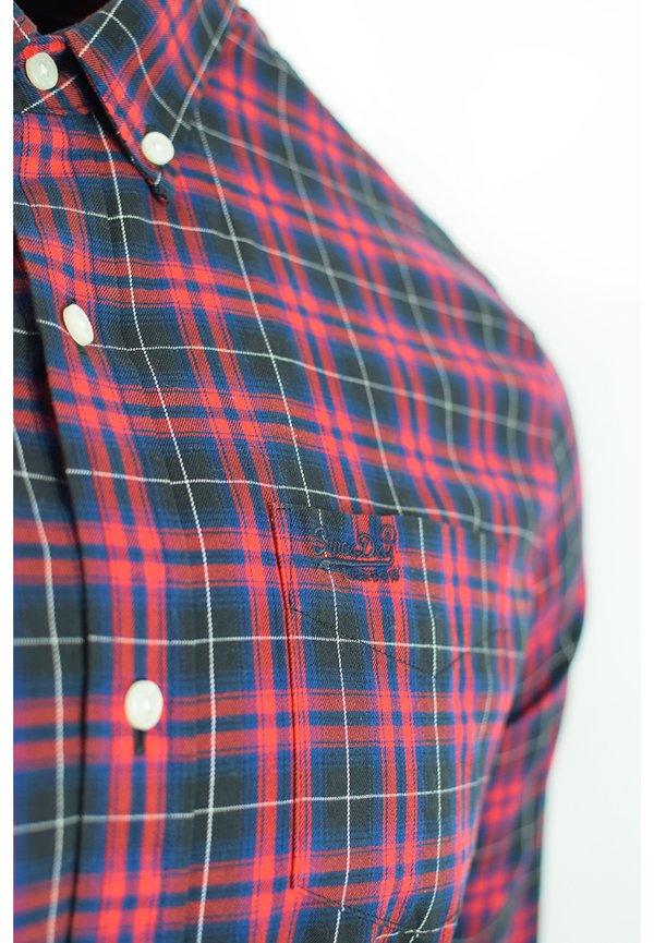 Superdry CLASSIC LONDON - Koszula - navy check/niebieski Odzież Męska GUBA