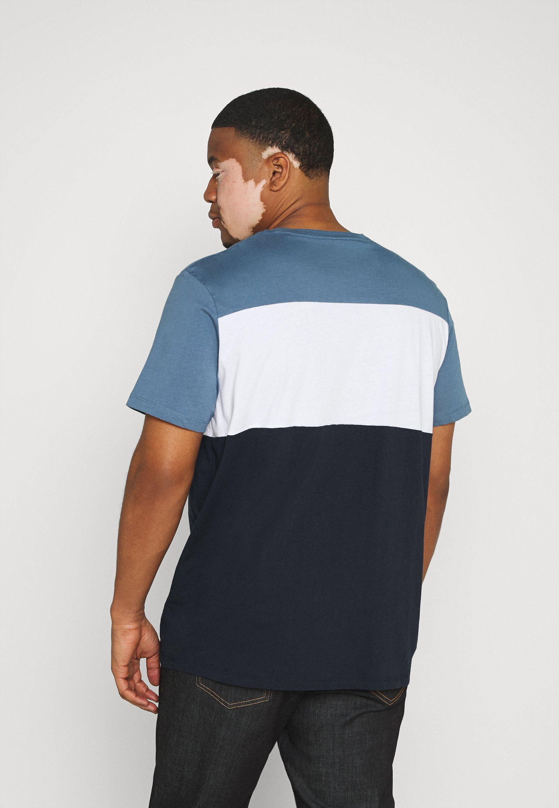 Jack & Jones JJELOGO BLOCKING TEE - Print T-shirt - china blue HlN7W