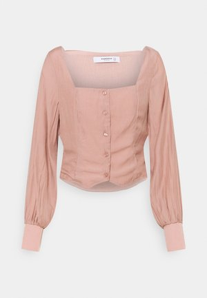 STUDIO BUTTON THROUGH WITH SQUARE NECKLINE AND PUFF LONG SLEEVES - Bluser - nude