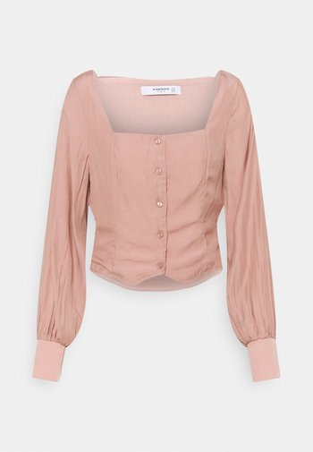 STUDIO BUTTON THROUGH WITH SQUARE NECKLINE AND PUFF LONG SLEEVES