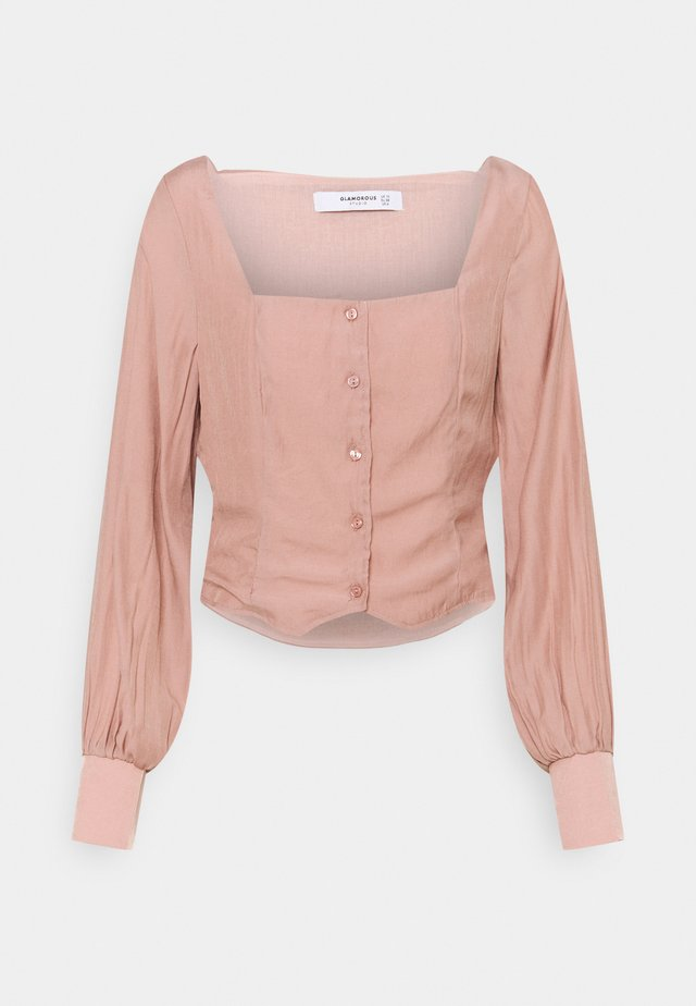 STUDIO BUTTON THROUGH WITH SQUARE NECKLINE AND PUFF LONG SLEEVES - Blouse - nude