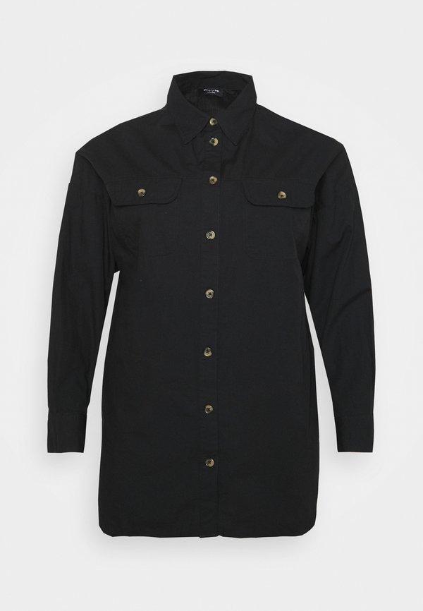 CAPSULE by Simply Be LONGLINE - Koszula - black/czarny UYTD