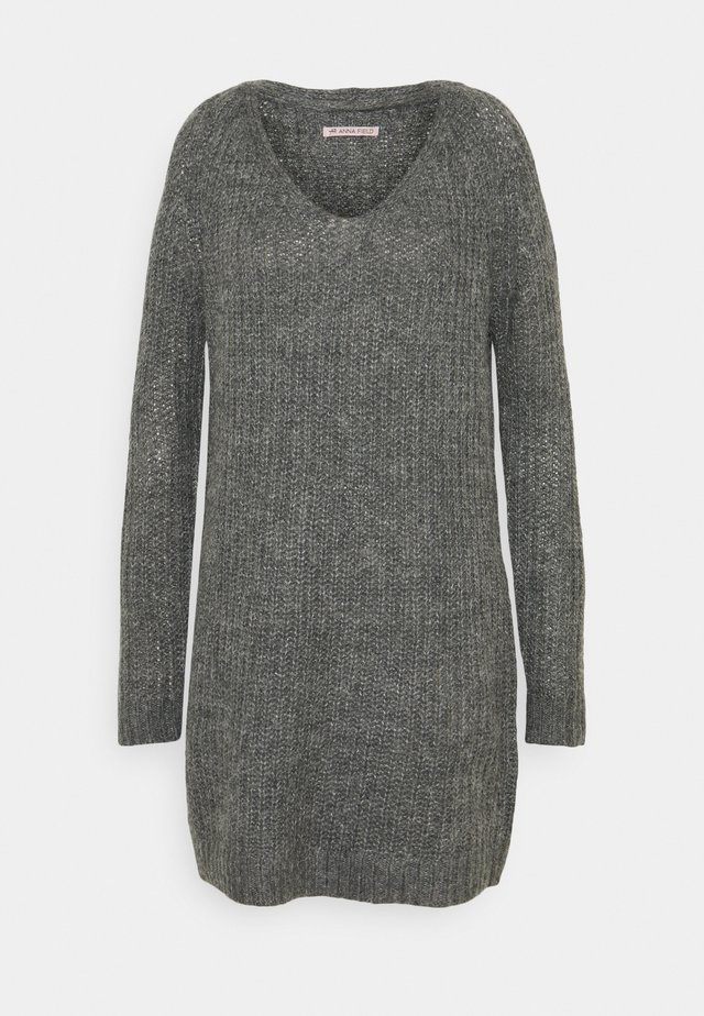 Gebreide jurk - dark grey melange