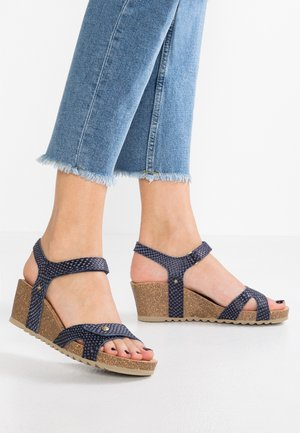 JULIA SNAKE - Platform sandals - dark blue