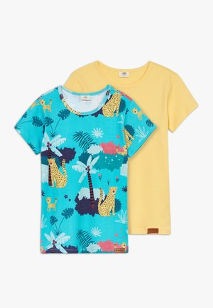 TROPICAL LEOPARDS 2 PACK - T-shirt print - blue/yellow