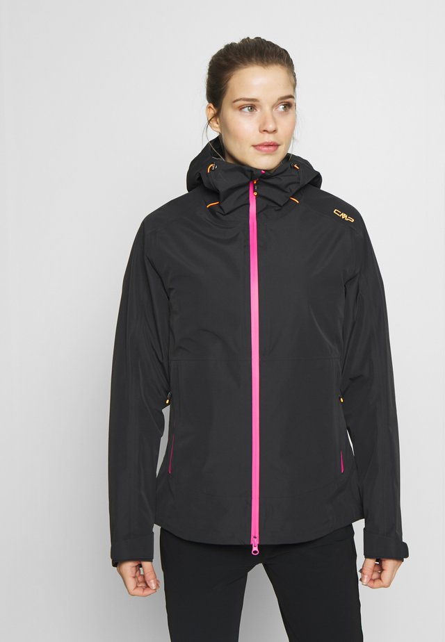 WOMAN JACKET FIX HOOD - Hardshellová bunda - antracite