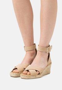 Selected Femme - SLFESTHER WEDGE  - Platform sandals - nude - 0