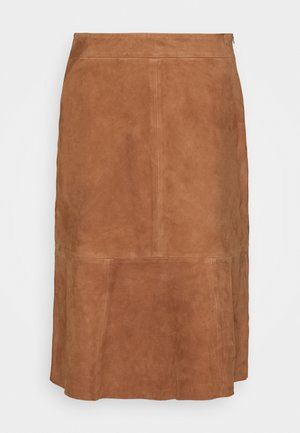 SKIRT - Leather skirt - noisette