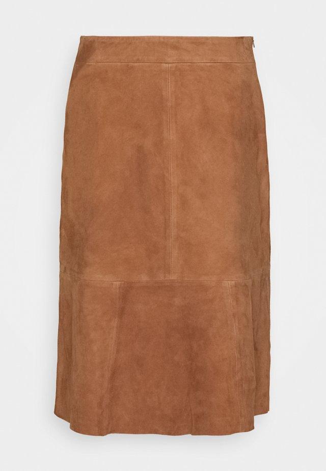 SKIRT - Leather skirt - noisette