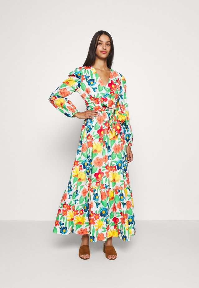 LONG SLEEVE WRAP MIDI DRESS - Robe longue - large bright