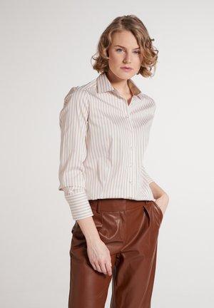 Button-down blouse - beige/weiß