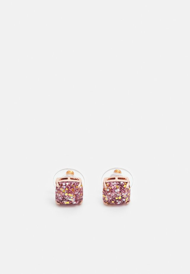 MINI SMALL SQUARE STUDS - Kolczyki - rose gold-coloured