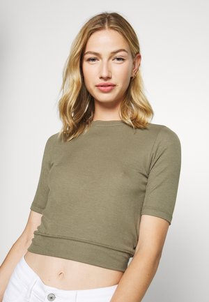 NMHENLEY SLEEVE CROPPED - Basic T-shirt - kalamata
