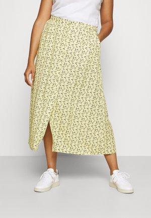 BUTTON UP MIDI SKIRT - A-line skirt - yellow