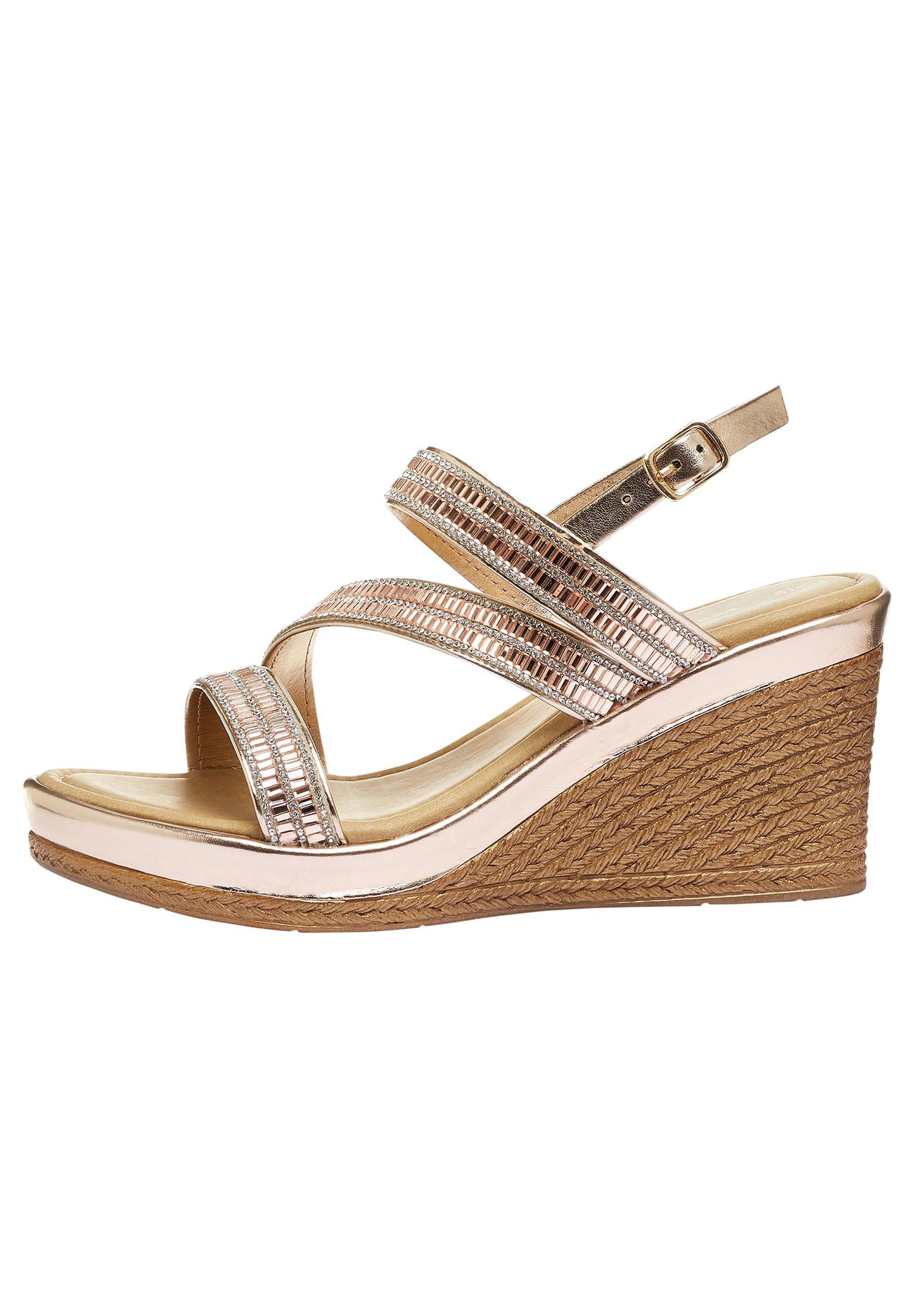 Damen SILVER ASYMMETRIC SPARKLY WEDGES - High Heel Sandalette