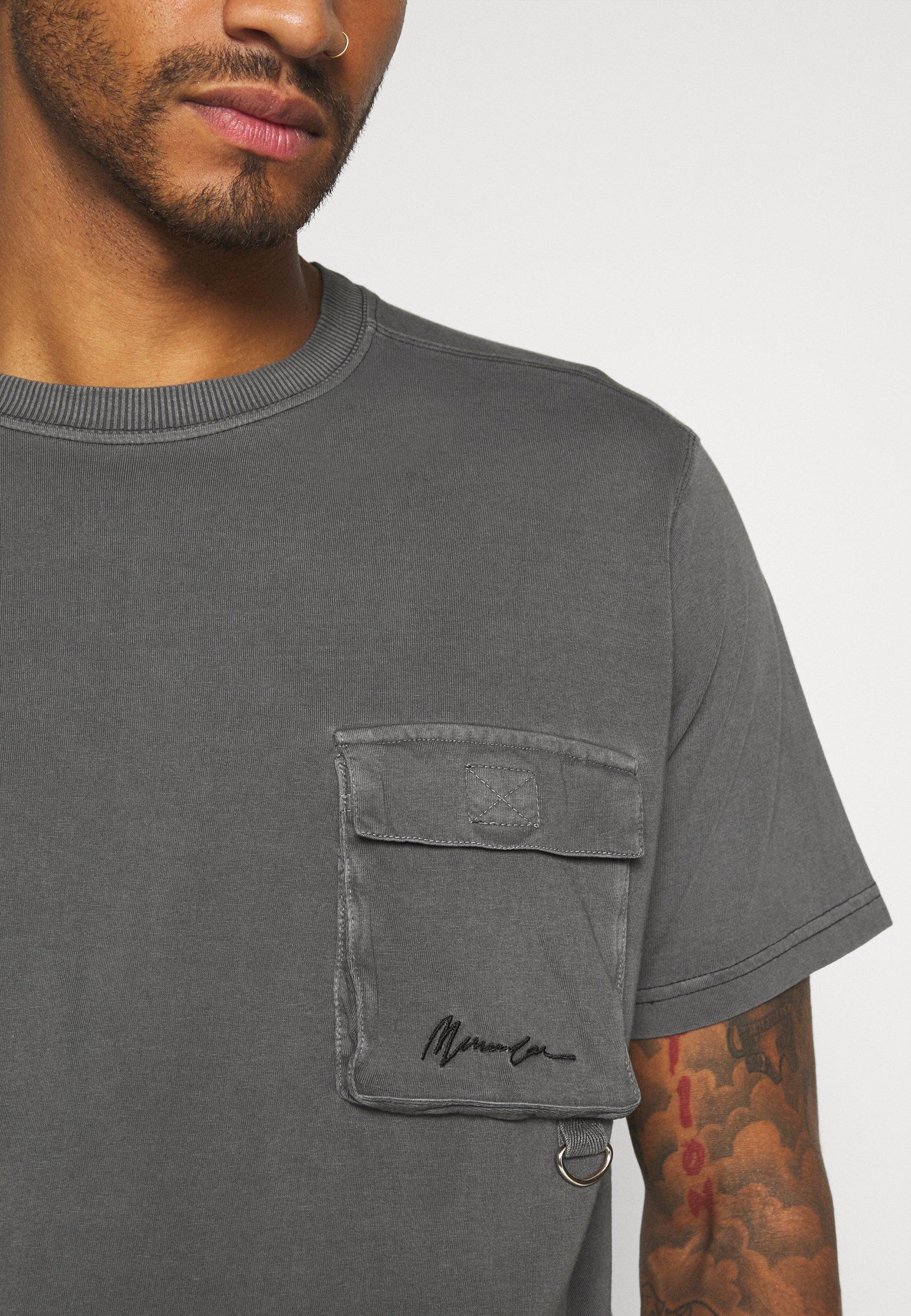 Mennace UTLITY POCKET OVERLOCK - Basic T-shirt - black 9bL2a