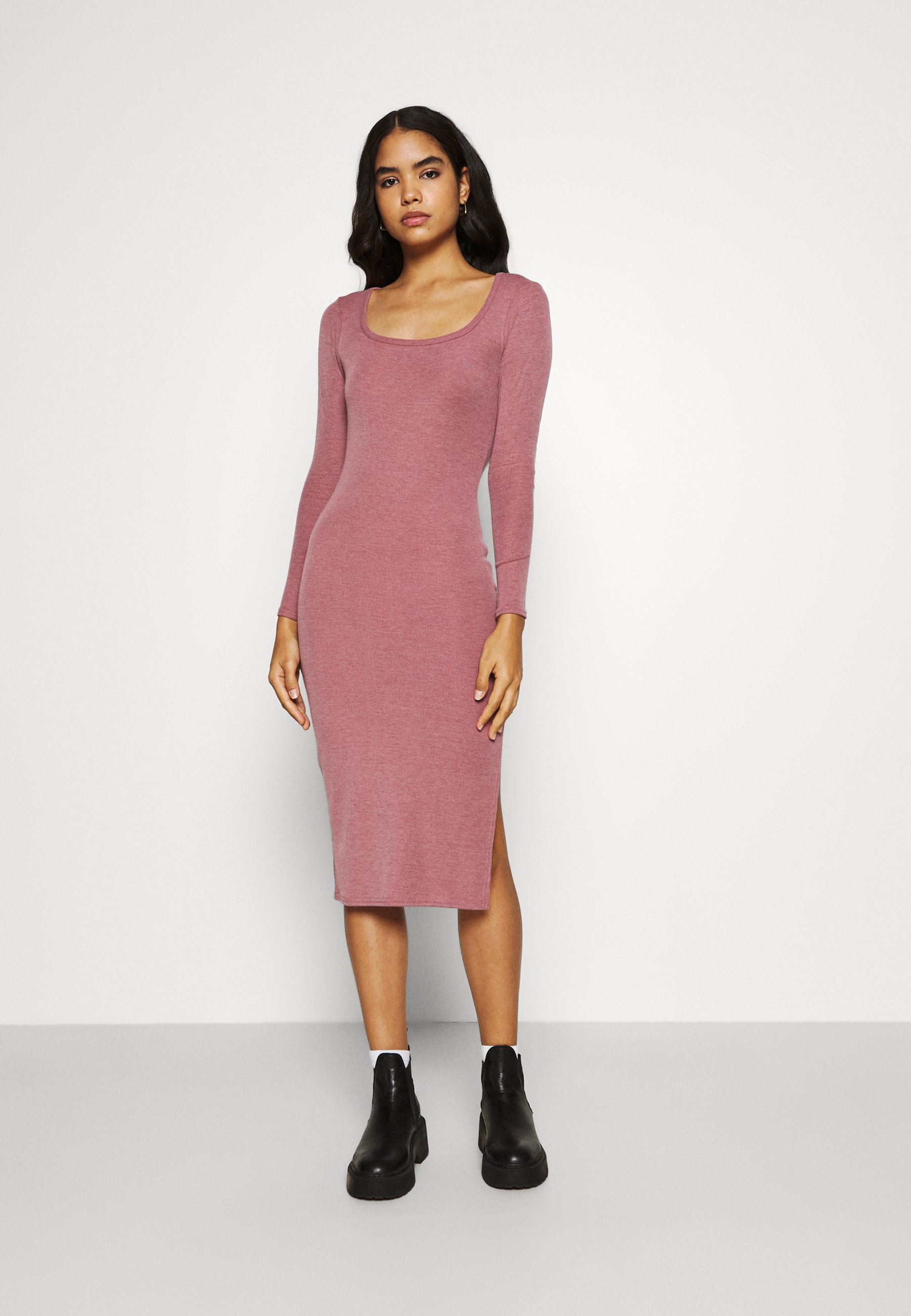 Women SQUARE NECK SIDE SPLIT MIDI DRESS - Shift dress