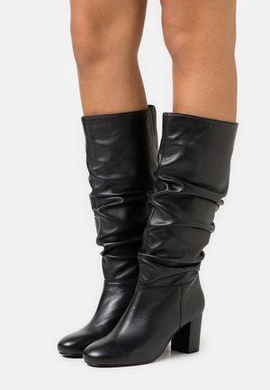 ORELIA RUCHED LONG BOOT - Vysoká obuv - black