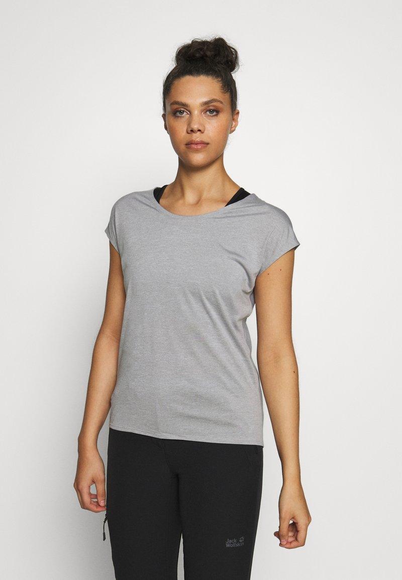 Salomon - COMET TEE  - T-shirts - lunar rock/white/heather