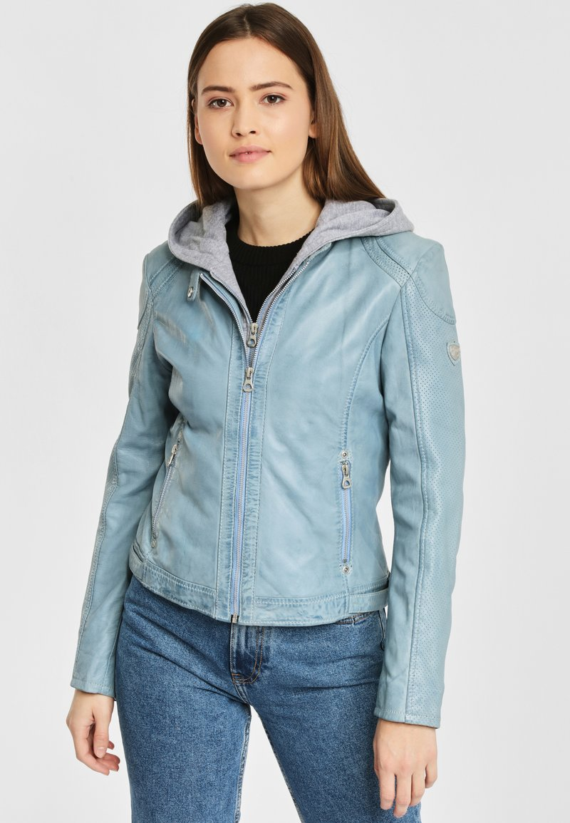 Gipsy - AELLY LAMAS - Leather jacket - light blue