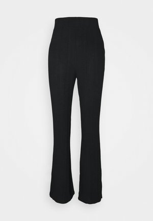 RIB KICK FLARE - Trousers - black