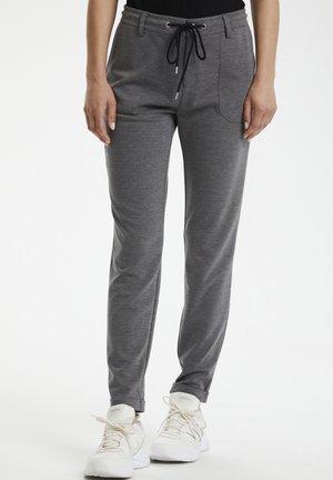 Trousers - grey mel.- black/chalk stripe