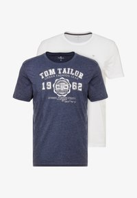 TOM TAILOR - BASIC 2 PACK - T-shirt z nadrukiem - real navy blue/white - 3