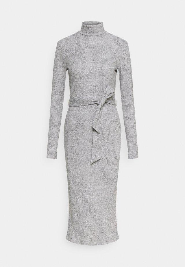 BRUSHED BODYCON TIE WAIST - Sukienka etui - grey