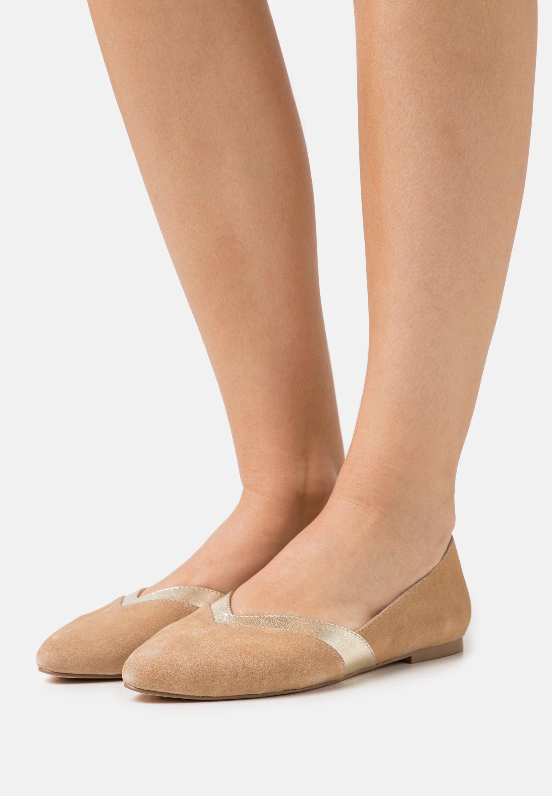 Women LEATHER - Ballet pumps - beige