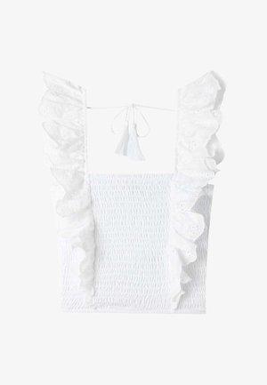 MIT SCHWEIZER STICKEREI  - Blouse - white