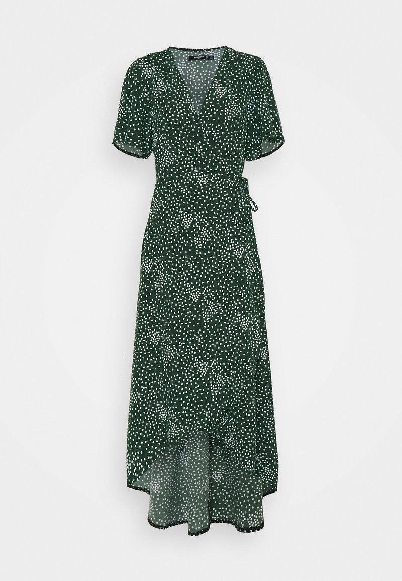 Missguided Tall - HIGH LOW WRAP MIDI DRESS POLKA DOT - Maxi dress - green