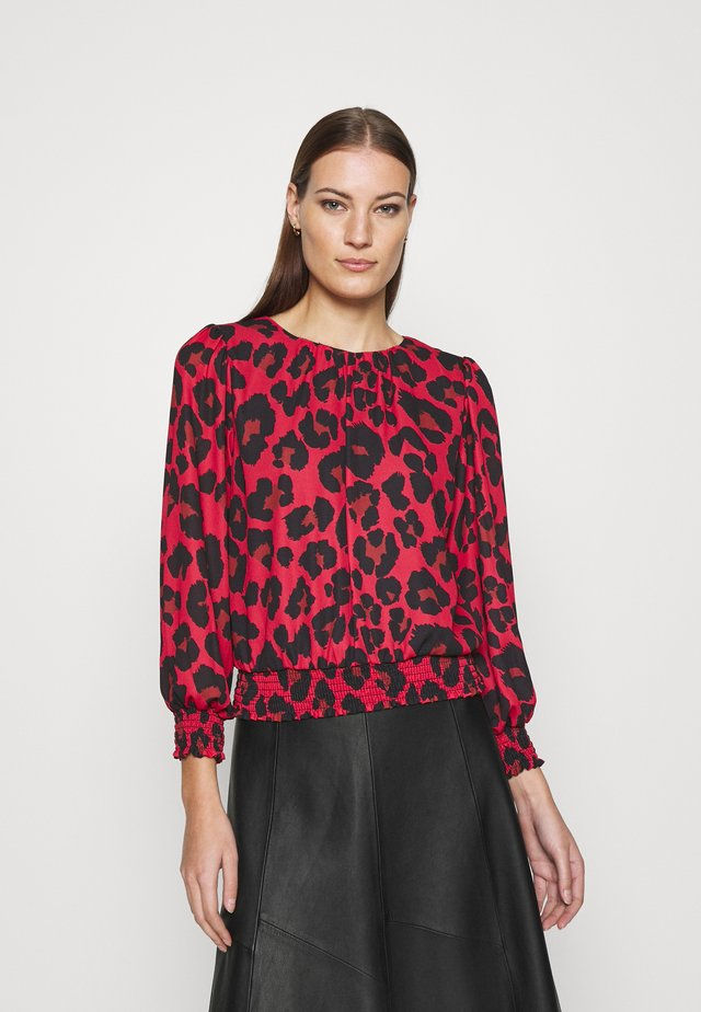 ANIMAL SHEERED - Long sleeved top - red