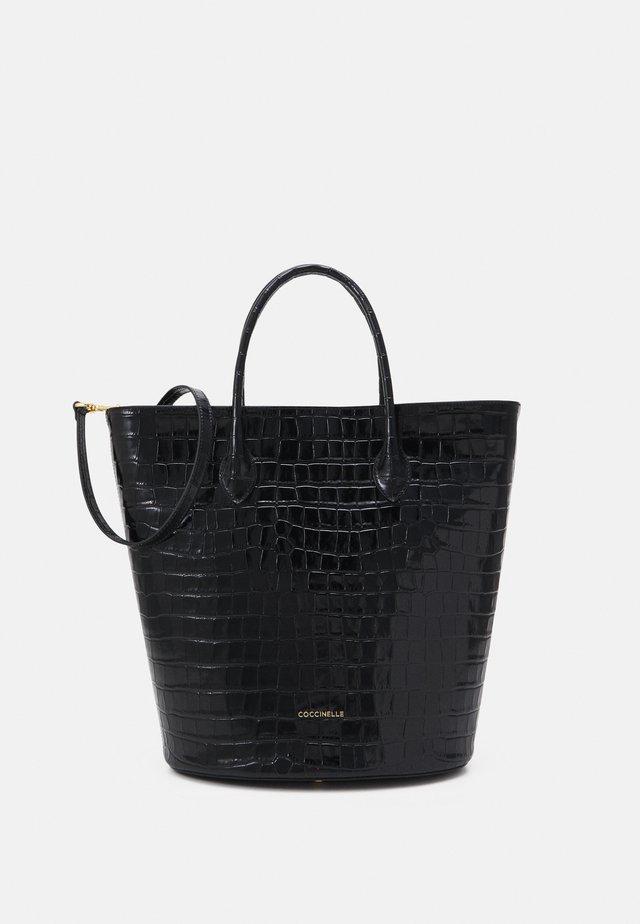 DIANA CROCO SHINY SOFT - Shopper - noir