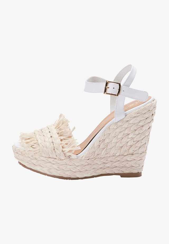 Sandalen met sleehak - white natural