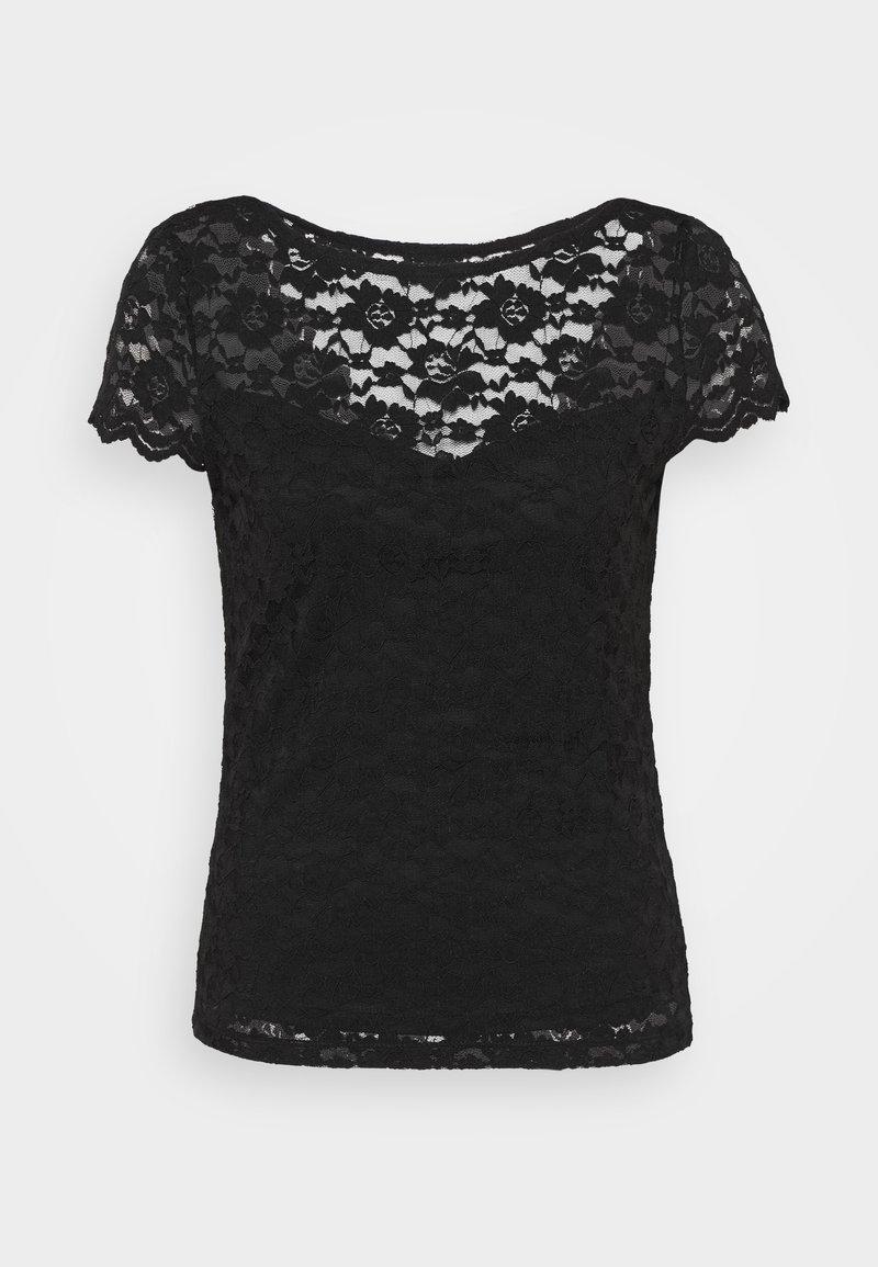 Vila - VIKALILA CAPSLEEVE - Print T-shirt - black