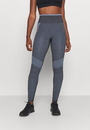 SKY HIGH WAIST SEAMLESS - Leggings - black/faded denim
